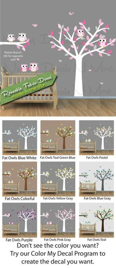 Pink and Gray Owl Tree Wall Decal Girls by NurseryDecalsNMore2, $24.99