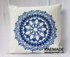 Nueva! azul w THROW blanco funda de almohada círculo bordado de la lana para acento almohada de algodón de lino almohada decorativa 40 x 40 cm cojín