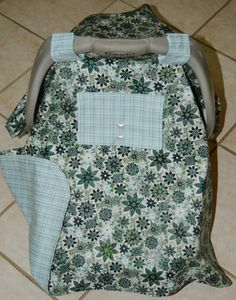 Baby Car Seat Cover in Greens and Blues by Debsflorals on Etsy, $29.99