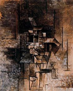 Woman with guitar, 1911 by Pablo Picasso, Cubist Period. Analytical Cubism. genre painting