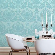 blue on blue!  Wall Stencil | Corsini Damask Stencil | Royal Design Studio
