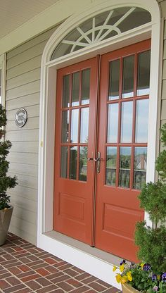 Trendy Ideas For Front Door Colors With Tan House Porches Orange Front Doors, Painted Doors, House Front, House Exterior, Green Siding, Front Door, Exterior Doors, House Painting, House Paint Exterior