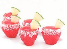 Margarita jello shots in strawberries!