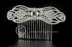 ART DECO WEDDING HAIR COMB WITH OVAL JEWEL  $78.99