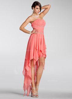Special Occasion Dresses - $158.99 - A-Line/Princess Strapless Asymmetrical Chiffon Holiday Dress With Beading Cascading Ruffles (020005298) http://amormoda.com/A-line-Princess-Strapless-Asymmetrical-Chiffon-Holiday-Dress-With-Beading-Cascading-Ruffles-020005298-g5298