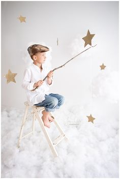 Stars and Clouds Photoshoot Little Boy Fishing for Stars. Stars and Clouds Mini Session. Joy of Life Photography, Orangeville, Ontario day photoshoot Fishing for Stars Photo Shoot