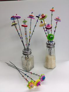 Button flowers created with Favorite Findings Big Value Buttons and glass beads.