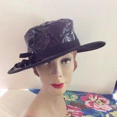 Vintage 1950s 1960s Hat Black Faux Patent Vinyl Large Brim by TimelessTreasuresVCB on Etsy