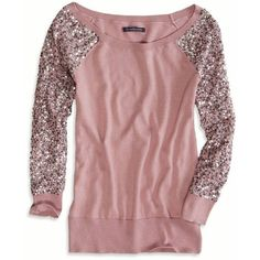 AE Sequin Sleeve Sweater. This one shows where you can buy it :) although it says sold out. If any of you have seen a sequins baseball tee please let us know where you found it :) xoxo Cindy