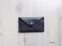 Black Handmade Leather Envelope Card Wallet