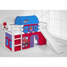 #spiderman high sleeper bunkbed with curtain and slide http://wallartkids.com/spiderman-themed-bedroom-ideas