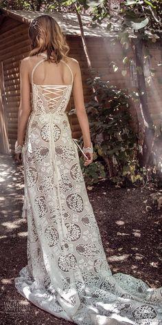 galia lahav gala 4 2018 bridal sleeveless halter neck full embellishment elegant bohemian soft a  line wedding dress mid strap back short train (905) bv -- Gala by Galia Lahav 2018 Wedding Dresses