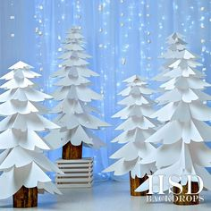 White Paper Trees Photography Backdrop Christmas P Christmas Stage, Christmas Photo Props, Christmas Program, Office Christmas, Blue Christmas, Christmas Pictures, Christmas Crafts, Unusual Christmas Trees, Christmas Parties