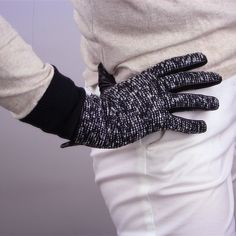 Touchscreen Winter Plaid Gloves Tweed Wool Real Leather Wrist Long Mittens Grey