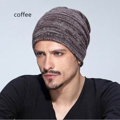 Casual knit beanie hat for men winter warm thick stocking caps