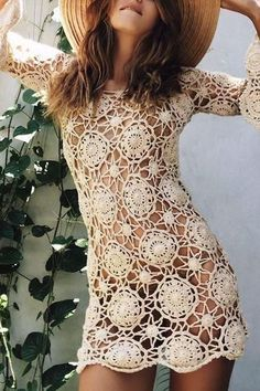 Lace Seven Sleeves Hollow Medium Long Loose Jumper – perfectlifestore Boho Mini Dress, Mini Dress With Sleeves, Mini Party, Mini Prom Dresses, Summer Dresses, Floral Print Maxi Dress, Dress Brands, Pretty Dresses, Knit Dress
