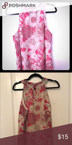 Sleeveless Floral top Pink and white top with a beautiful floral pattern.  Small keyhole closure in back Tops