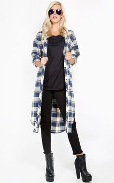 Maxi oversized flannel shirt open cardigan, love this color. | MakeMeChic.com