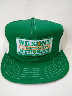 28e1271557a Vintage Trucker Hat Wilson s Auctioneers 1980s Retro Heavy Equipment Green  Farming Excavating Machines Mens Cap