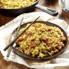 Brussels Sprout Fried Rice with Spicy Baked Tofu: Connoisseurus Veg