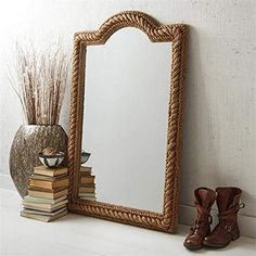 Arched Rope Mirror (hangs or stands) Material: Jute/MDF/Fir Wood/Glass. Mirror Hanging Brackets, Rope Mirror, Mirror Wall Art, Wall Mounted Mirror, Nautical Mirror, Bliss Home And Design, Unique Wall Decor, Wood Glass, Coastal Homes
