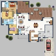 Zoom on the inside of this ultra pit foot of spacious living room of with an open kitchen. Living room set-living-room-web space open on th Sims House, Spacious Living Room, Concept Architecture, House Layouts, House Floor Plans, Home Builders, Decor Interior Design, My Dream Home, Construction