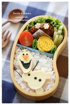 """Olaf bento #frozen #olaf awww! frozen rocks, doesn't it? let it goooo~ i will show you my olaf power! i am using my carrot to unlock the door! And i see dear anna lying on the ground her face is deathly, i am so worried~ let it go, let it go! short free style parody lol its at the part go """" my power flurries…."""""""