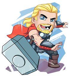 Marvel Drawing Thor Chibi by shamserg - Chibi Superhero, Chibi Marvel, Superhero Poster, Marvel Art, Drawing Cartoon Characters, Chibi Characters, Character Drawing, Marvel Characters, Cartoon Drawings