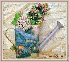 """Купить Лейка-ваза большая """"Сказочный домик"""" - ваза, лейка, домик, цветы, кашпо, Декупаж"""