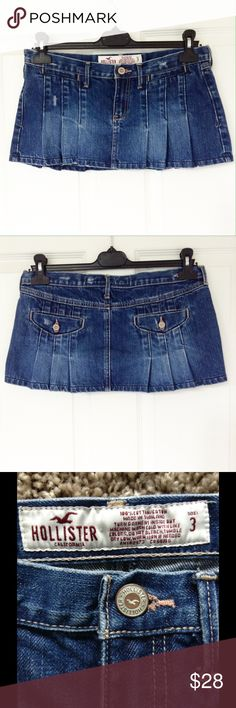 "Hollister Pleated Denim Mini Skirt ✔️Size 3 W30"" (sits low). Length 10"". See materials on last photo. ✔️ Reasonable offers or bundle 3 listings and get automatic 20% discount. ✔️Same day shipping  ✔️Freebie ❌No trades or outside PM transactions ✔️ Questions Happy shopping Hollister Skirts Mini"