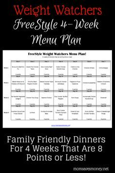 4 weeks of dinners that are 8 points or less on Weight Watchers FreeStyle Plan! Easy printable meal plan with healthy recipes. #weightwatchers
