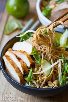 Fresh and vibrant Thai Chicken Noodle Bowl with Peanut Sauce! Loaded with veggies, and kissed with peanut sauce, these noodle bowls make a marvelous dinner