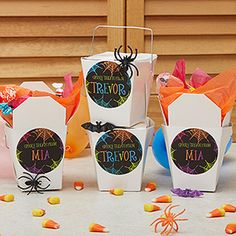 These Spider Web Personalized Stickers and Treat Boxes are so cute! The colors and spider webs look so cool! This would be great to hand out at a Halloween Party at home or for teachers to hand out at a Halloween party at school! #Halloween #Spider