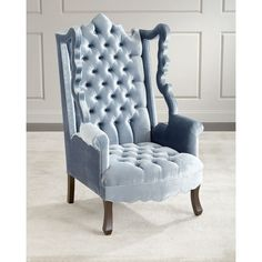 Haute House Isabella Tufted Velvet Cut-Out Wing Chair (20,640 CNY) ❤ liked on Polyvore featuring home, furniture, chairs, accent chairs, blue, blue chair, tufted chair, blue velvet chair, blue accent chair and velvet furniture
