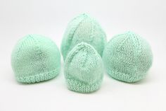 """Ravelry: Premature Baby Hats pattern by Graeme Knowles-Miller, Free Pattern Fingering / 4 ply (14 wpi) ? 28 stitches and 36 rows = 4"""" in Stocking Stitch US 2 - 2.75 mm US 3 - 3.25 mm 459 yards (420 m) Sizes available Baby Weight 1-1½ (2-3, 4-5, 6-8) lbs"""