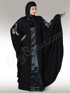 Beautiful Black Party Wear Abaya | MyBatua.com   Afsheen Abaya!    Style No: Ay-109   Shopping Link  : http://www.mybatua.com/afsheen-abaya   Available Sizes XS to 7XL (size chart: http://www.mybatua.com/size-chart/#ABAYA/JILBAB)    •Kaftan (Butterfly) Style  •Floral hand embroidery on sleevs  •Round neck  •Fabric: Poly Crepe & Satin  •Care: Dry Clean