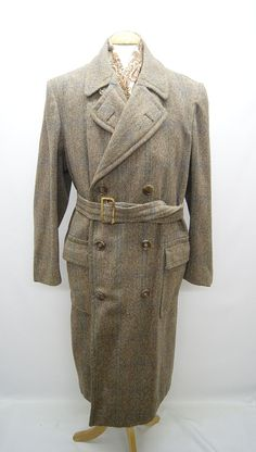 "1940s CC41 Utility Marked Double Breasted Tweed Wool Coat, Chest 44"" in Clothes, Shoes & Accessories, Vintage Clothing & Accessories, Men's Vintage Clothing 