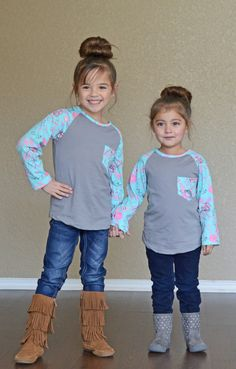 Little Girls Matching Tops, Boutique, Ryleigh Rue, Floral Sleeve top, long sleeve top, fashion, online shopping, online boutique, kids clothing