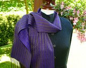 Silk Handwoven Scarf, Luxury Fiber, Woman's Scarf, Violet, Bronze Olive green