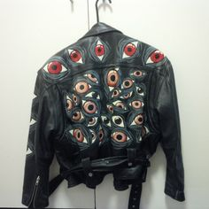 Hand painted argus eyes leather jacket - From Etsy shop FactoryRejects