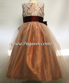 Burnt Orange Tulle Gown With Lace Collar Junior by chachalouise ...