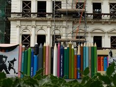 Colored Pencil Fence with Crayons Box and Markers Box