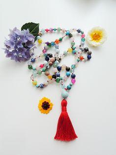 Nikkotakko Jewelry — Handmade Mala Beads with Finnish Design Rose Quartz, Tassel Necklace, Amethyst, Handmade Jewelry, Gemstones, Pearls, Summer, Suitcase, Summer Time