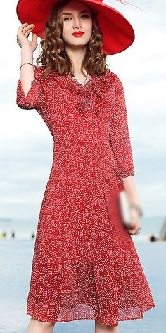 Fashion V-Neck Dot Print A-Line Dress