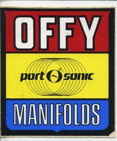 vtg Offenhauser sticker decal Offy port-o-sonic manifolds hot rod drag race