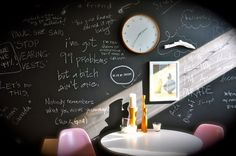 Blackboard -painted wall in the office room helps with taking notes. Also works well with a whiteboard wall