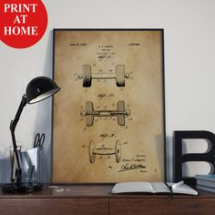 Dumbbell Patent Art Print-Old Athletic Poster-Patent Prints-Patent Poster-Printable Wall Art-Man Cave Decor-Boyfriend Gift-Husband Gift Men