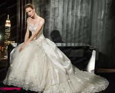 New White Ivory Lace Ball Gown Wedding Dresses Bridal Gown Custom Size +Veil