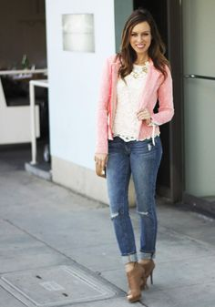 cuffed jeans and sleek booties