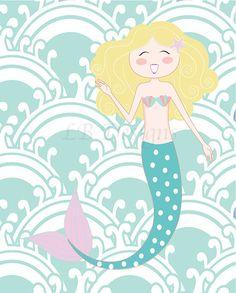 Purple and Aqua Mermaid Nursery Room Print  8x10 by LJBrodock, $10.00 Mermaid nursery, mermaid bedroom, seahorse nursery, mermaids, nursery decor, girl nursery